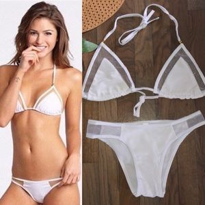 NEW Sexy White String Bikini With Mesh Accents